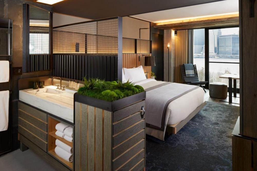 Nyc s 1 hotel brooklyn bridge ushers in a new era of sustainable luxury for Living room steakhouse brooklyn